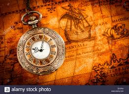 World Map Watch Vintage Antique Pocket Watch On An Ancient World Map In 1565 Stock