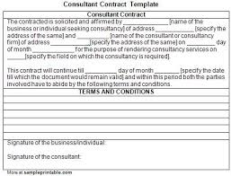 printable consultant contract template printable consultant