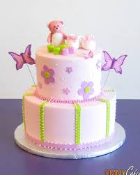 pink teddy bear and butterflies themed cake cmny cakes