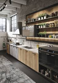 kitchen style concrete wall open shelves cabinet black hardwood concrete wall open shelves cabinet black hardwood floors rustic gray theme kitchen
