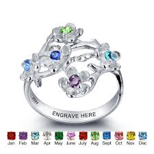 rings with birthstones personalized 925 sterling silver 12 birthstone diy rings colorful