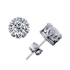 diamond stud earrings sale gold 925 silver earrings crown zircon jewelry india korean small