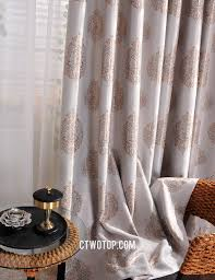 and brwon patterned designer discount curtains and drapes
