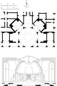 55 plan and section of the octagonal room of domus aurea golden