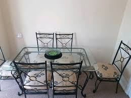glass metal dining table large glass and metal dining table with 6 chairs in stoke on trent