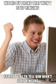 Kid On Phone Meme - walks by phone that won t stop ringing calls it guy to tell him won