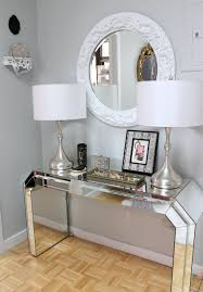 wood and mirrored console table entry hall mudroom luxury modern mirrored console table with drum
