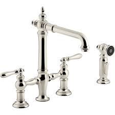 polished nickel kitchen faucet kohler k 76519 4 cp artifacts polished chrome two handle bridge