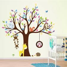 stickers animaux chambre b stickers chambre b muraux enfant arbre et les animaux hiboux singe l