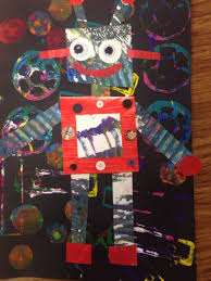 painted paper robot collage kinderboeken week 2015 pinterest