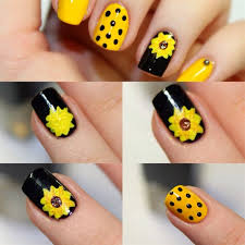 sun flower nail art design step by step fashion trends
