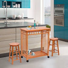 homcom rolling kitchen island trolley cart storage table stools