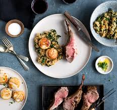 lamb with seared scallops and lemon spinach risotto tableanddish