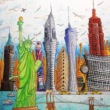 a day in new york original pop art style contemporary new york city skyline painting