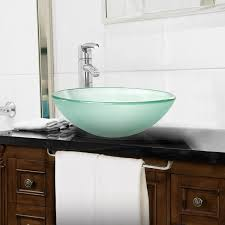 tempered glass vessel bathroom vanity sink round bowl frosted