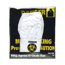 Men Cooking Aprons Amazon Com Novelty Apron And Chef U0027s Hat Set Danger Man Cooking