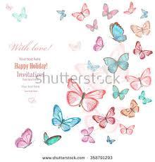 invitation card lovely flying butterflies on stock illustration