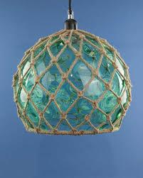 glass fishing float pendant light glass fish float hanging pendant light sea green cheeky tiki ltd