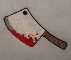 bloody cleaver halloween embroidery design file from