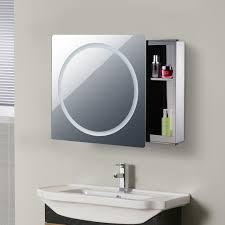 homcom 76l 53w 13t cm led mirror cabinet silver aosom co uk