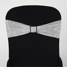 spandex chair sashes 5 pack silver metallic shiny glittered spandex chair sashes for