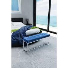 zuo synchrony cobalt blue velvet bench 100195 the home depot
