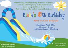Backyard Birthday Party Invitations by Waterslide Birthday Party Invitation By Thetrendybutterfly On Etsy