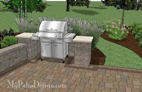 Backyard Brick Patio Design With 12 X 12 Pergola Grill Station by Backyard Patio Design With Grill Station And Seating Wall 2