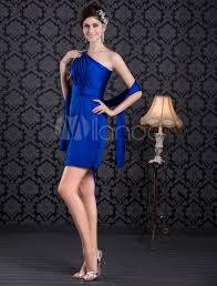 royal blue beading one shoulder knee length cocktail dress