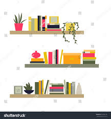 vector illustration collection bookshelves home library stock