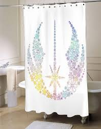 Nerdy Shower Curtain Star Wars Inspired Brightly Colored Jedi Flowers Shower Curtain
