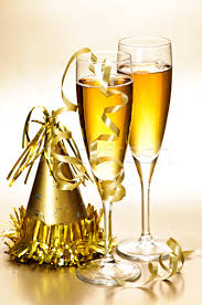 new years chagne flutes chagne and new years party decorations stock photo