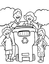 free earth day coloring page for children lets recycle inside