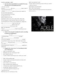 past song worksheet set fire to the rain by adele