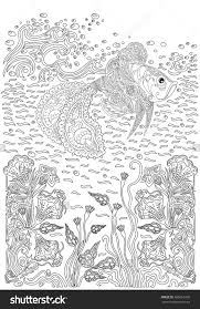 fish in waves and seaweed coloring page zentangle 402616435