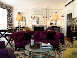 attractive decorating ideas using rectangular brown rugs and room furniture ideas along wit rectangular beautiful purple velvet sofa and glass top coffee table also yellow shade table lamp for your