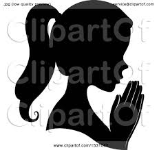 clipart of a silhouette profile with praying