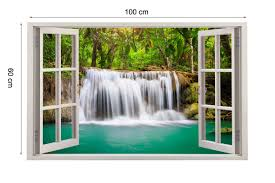 rainforest waterfall 3d window view wall stickers art mural decor package mailing tube is used for posting sticker which suits for gift packing and needs 6 extra