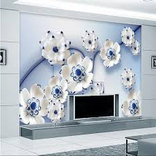 3d photo wallpaper blue lotus lotus relief companies lobby bar