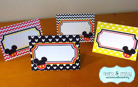 place cards diy mickey mouse party table tents food labels place cards