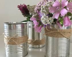 Tin Vases 10 Upcycled Wedding Heart Tin Can Lanterns Table Decoration