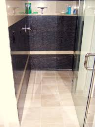 bathroom cozy linear shower drain with travertine tile floor and