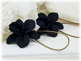 black orchid flower black orchid flower drop earrings dangle earrings