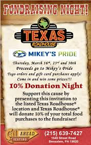 gift card fundraiser thursday fundraiser at roadhouse bensalem mikey s