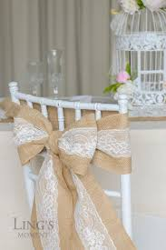 wedding chair bows burlap chair sash with lace 6 x94 stitched edge pew bows shabby