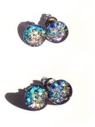 glitter stud earrings tiny stud earrings kaleidoscopic glitter stud earrings resin