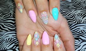 acrylic nail infill l pastel u0026 flowers l nail design youtube
