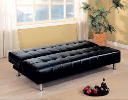 Black Leather Armless Chair Simple Futon Sleeper Chair