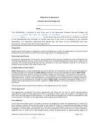 contract addendum template barnard college free download