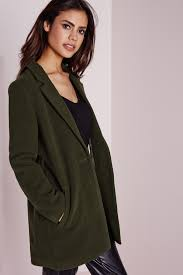 missguided short faux wool coat khaki in natural lyst